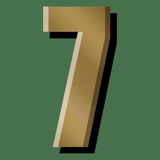 Gold bar figure seven symbol Transparent PNG