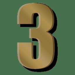 Símbolo de figura de barra de ouro três