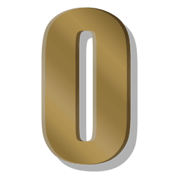 Gold bar figure zero symbol