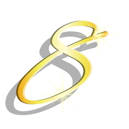 Gold figure eight artistic symbol