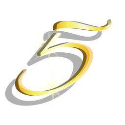 Gold figure five artistic symbol