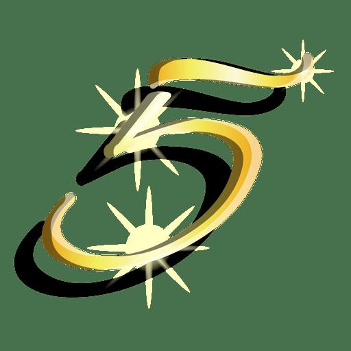 Figura de oro cinco símbolo artístico