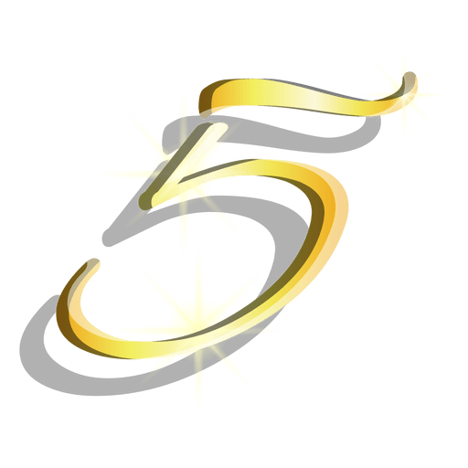 Gold figure five artistic symbol Transparent PNG