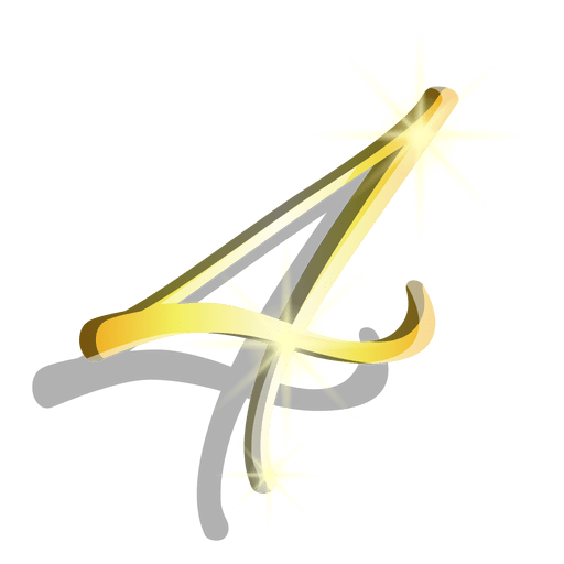 Gold figure four artistic symbol Transparent PNG