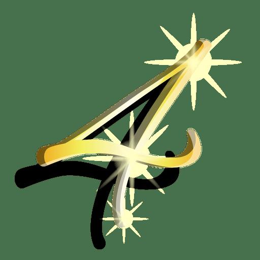 Gold figure four artistic symbol