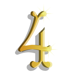 Gold figure four symbol