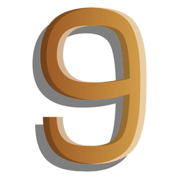 Gold figure nine solid symbol
