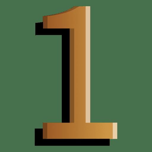 Gold figure one solid symbol Transparent PNG