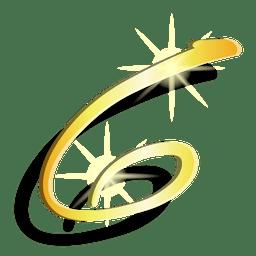 Goldzahl sechs künstlerisches Symbol