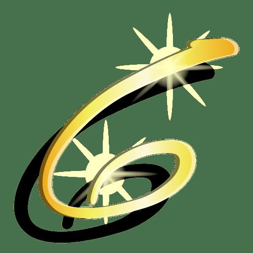 Gold figure six artistic symbol Transparent PNG