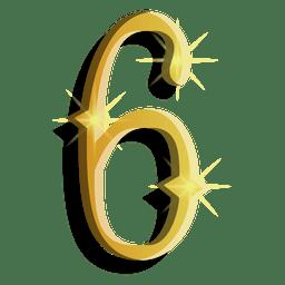 Gold figure six symbol