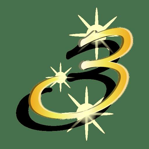 Figura de oro tres símbolo artístico
