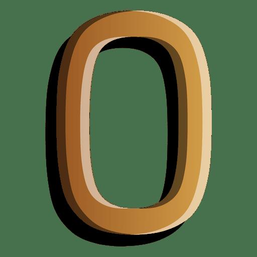 Figura de oro cero símbolo sólido