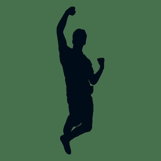 Happy man cheering silhouette