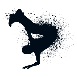 Hip hop handstand splash paint silhouette
