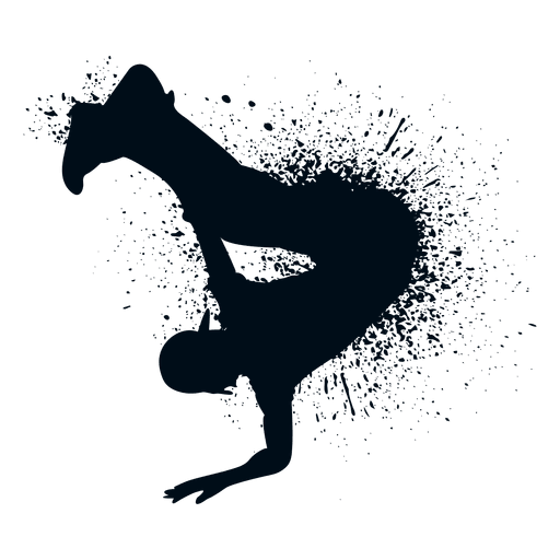Hip Hop Handstand Splash Paint Silhouette Transparent PNG