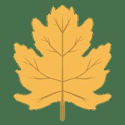 Folha de outono amarela isolada