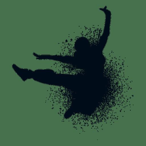 Kick jump splash paint silhouette