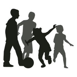 Kinder jagen Ball Silhouette