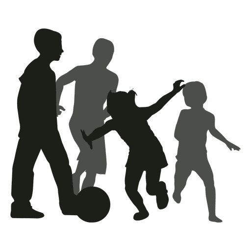 Kids chasing ball silhouette