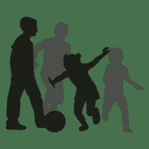Niños persiguiendo silueta de pelota
