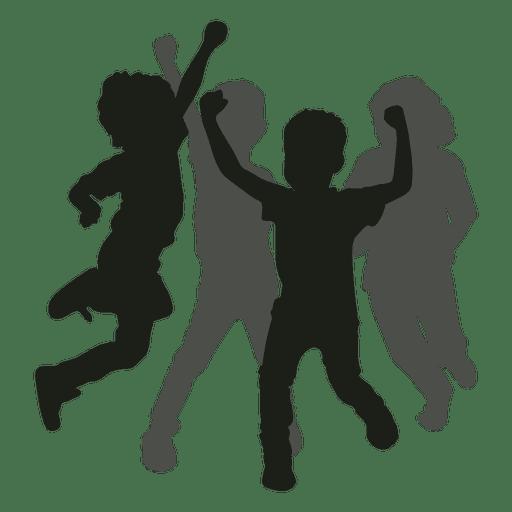 Kids having fun silhouette