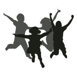 Kinder springen Silhouette