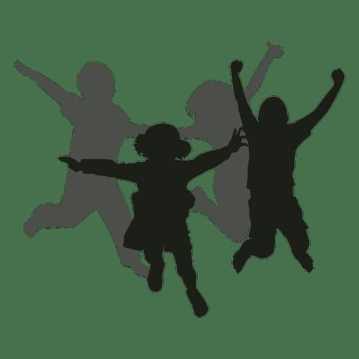Niños saltando silueta