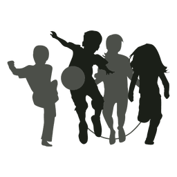 Kids playing silhouette kids