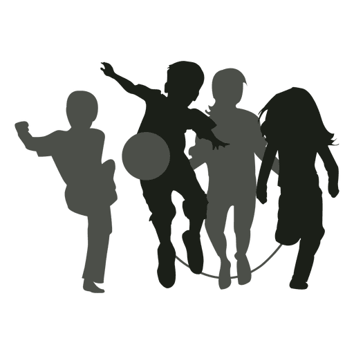 Kids playing silhouette kids Transparent PNG