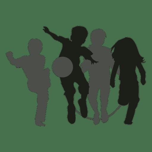 Kids playing silhouette kids