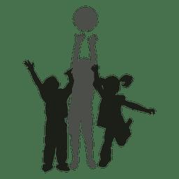 Crianças brincando com crianças de silhueta de bola