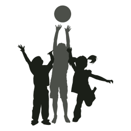 Niños jugando con pelota silueta niños