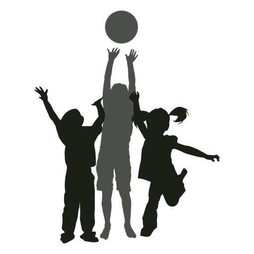 Kids playing with ball silhouette kids