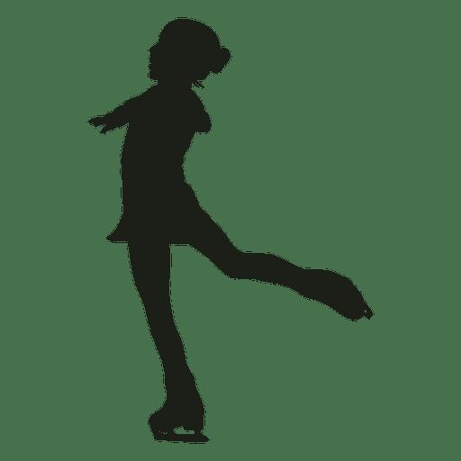 Niña pequeña silueta de patinaje artístico Transparent PNG