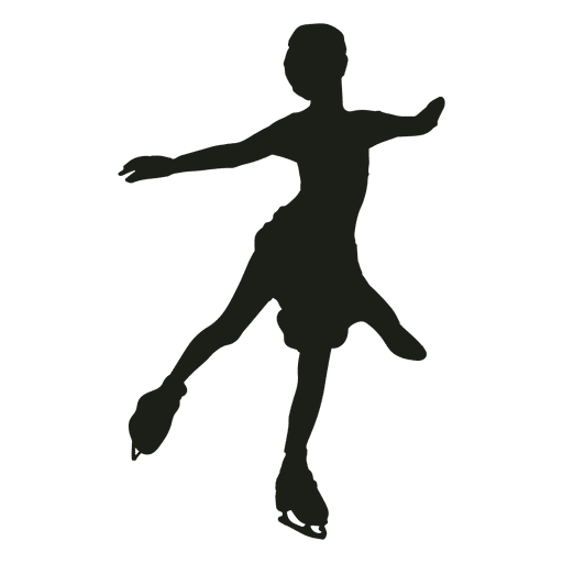 Little girl ice skating silhouette Transparent PNG