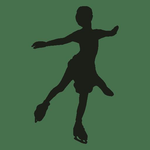 Silhueta de patinação no gelo de menina pequena Transparent PNG