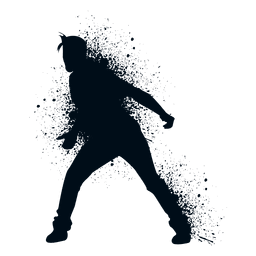 Silhueta de pintura de respingo de dança bloqueio