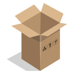 Long box with package signs