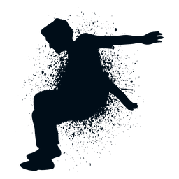 Man jumping splash paint silhouette