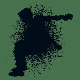 Man jumping splash paint silhouette