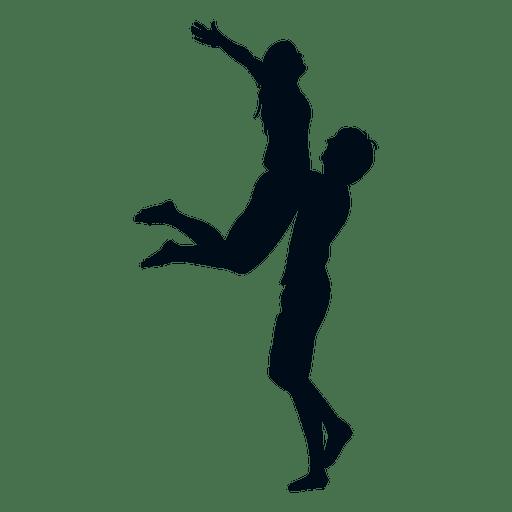 Man lifting woman silhouette