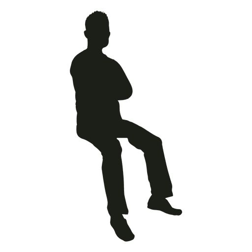 Man Sitting Hands Crossed Silhouette Transparent Png