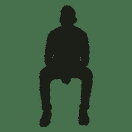 Hombre sentado inclinado hacia adelante silueta