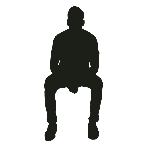 Man Sitting Leaning Forward Silhouette - Transparent PNG ...