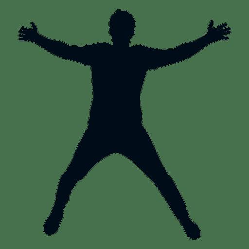 Hombre extendido águila saltando silueta Transparent PNG