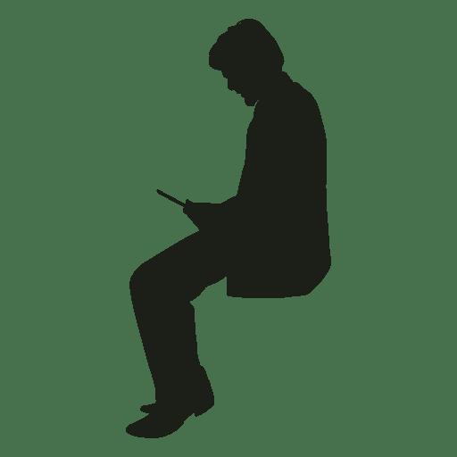 Hombre con teléfono sentado silueta - Descargar PNG/SVG ...
