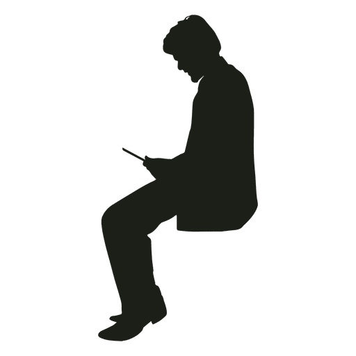 Man with phone sitting silhouette