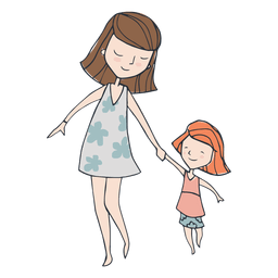 Mom and dauther walking cartoon