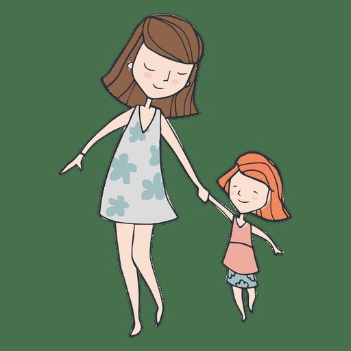 Mamá e hija caminando dibujos animados